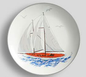 Pottery Barn Lakehouse Enamel Sailboat Salad Plate