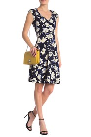 London Times Floral Cap Sleeve Fit & Flare Dress