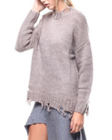 Fashion Lab distressed hem cable knit sweater