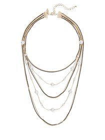 Multi-Row Layered Faux-Pearl Necklace - New York &