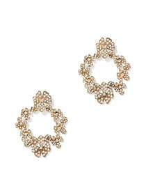 Pave Goldtone Wreath Post Earring - New York & Com