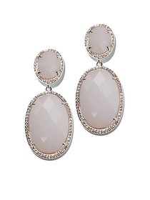 Silvertone Pave Drop Earring - New York & Company