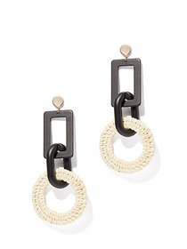 Black & White Basket-Weave Drop Earring - New York