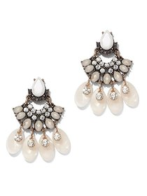 Gunmetal Faux-Stone Drop Earring - New York & Comp