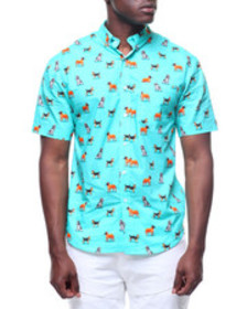 Loft 604 dog pattern s/s buttondown