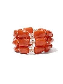 3-Row Faux-Coral Stretch Bracelet - New York & Com