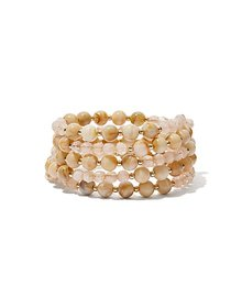 5-Row Beaded Goldtone Stretch Bracelet - New York