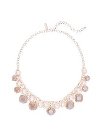 Rose Goldtone Faux-Pearl & Faux-Stone Statement Ne