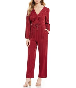 First Monday Tonal Stripe Wrap Jumpsuit