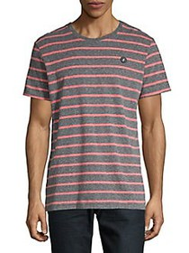 Jack & Jones Striped Cotton Crewneck T-Shirt GREY