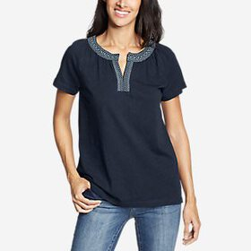 Women's Laurel Canyon Short-Sleeve Split Neck