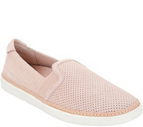 Vionic Perforated Suede Slip-Ons - Malina - A34694