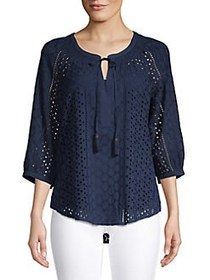 Daniel Rainn Three Quarter Eyelet Tie Neck Blouse