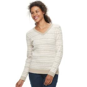 Women's Croft & Barrow® Classic Cable Knit V-Neck