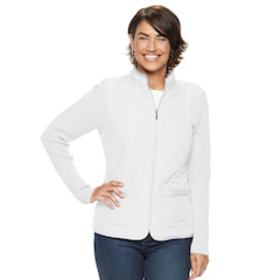 Petite Croft & Barrow® Zip-Up Quilted Sweater Jack