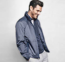 Johnston Murphy Micro-Check Print Windbreaker
