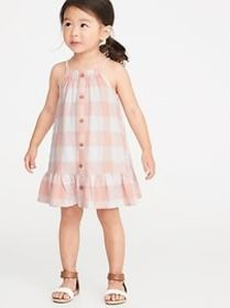 Patterned Button-Front Tiered-Hem Sundress for Tod