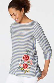 Embroidered Striped Linen Top