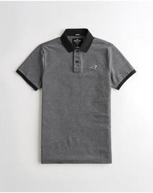 Hollister Stretch Slim Fit Polo, HEATHER BLACK