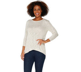 Lisa Rinna Collection 3/4 Sleeve Top with Back Det
