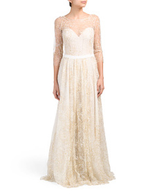 MARCHESA Glitter Tulle Gown With Ribbon At Waist