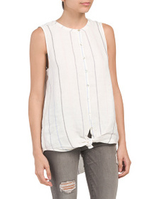 C&C CALIFORNIA Linen Sleeveless Button Down Top