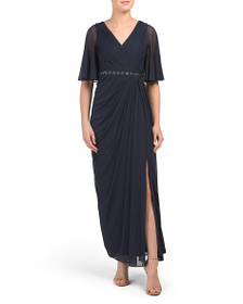 ADRIANNA PAPELL Petite Flowing Elbow Sleeve V Neck