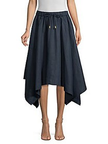 Donna Karan Pull-On Draped Linen Skirt INDIGO