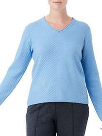 Olsen Chevron Ribbed V-Neck Sweater WATER BLUE