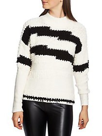 1.STATE Textured Striped Sweater ANTIQUE WHITE