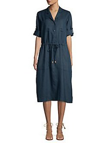 Donna Karan Self Tie Linen A-Line Midi Dress INDIG