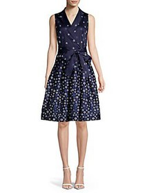 Anne Klein Collared Pattern Wrap Dress DISTANT