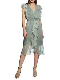 1.STATE Printed High-Low Wrap Dress SAGE VINE