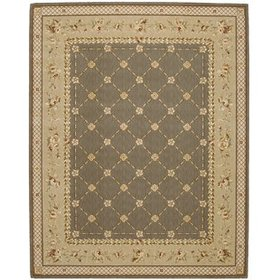 Christa Green Power Loom Wool Green Area Rug