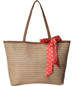 Rampage Straw Tote with Polka Dot Satin Bow
