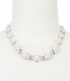 Anne Klein Pearl Crystal Collar Necklace