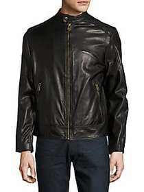 Cole Haan Zip-Front Faux-Leather Moto Jacket BLACK