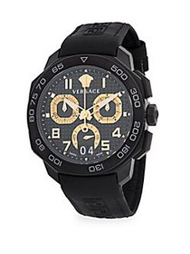 Versace Stainless Steel & Leather-Strap Watch CHAR