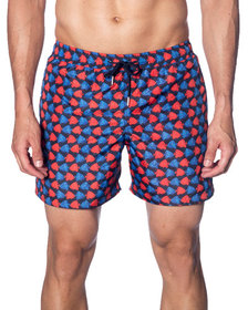 Jared Lang Men's Multicolor Fish-Print Swim Shorts