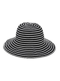 San Diego Hat Company Striped Cloche Hat BLACK WHI