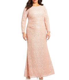 Vince Camuto Plus Size Sequin Long Sleeve Gown