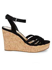 Splendid Fallon Suede Wedge Sandals BLACK