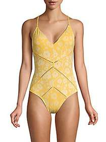 Robin Piccone Floral One-Piece Swimsuit MARIGOLD