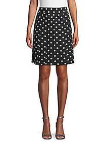 Marc Jacobs Polka Dot Pleated Silk Skirt BLACK CRE