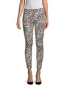7 For All Mankind Animal-Print Cropped Skinny Jean