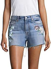 7 For All Mankind Painted Floral Denim Shorts BLUE