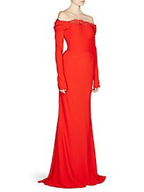 Alexander McQueen Draped Off-The-Shoulder Gown LUS