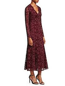 Ralph Lauren Estella Midi Cocktail Dress BURGUNDY
