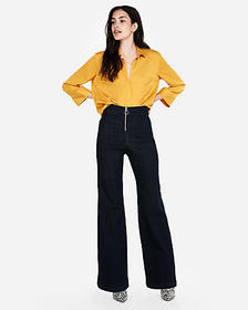 Express solid satin y-neck shirt