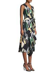 Lafayette 148 New York Printed Belted Dress BLACK